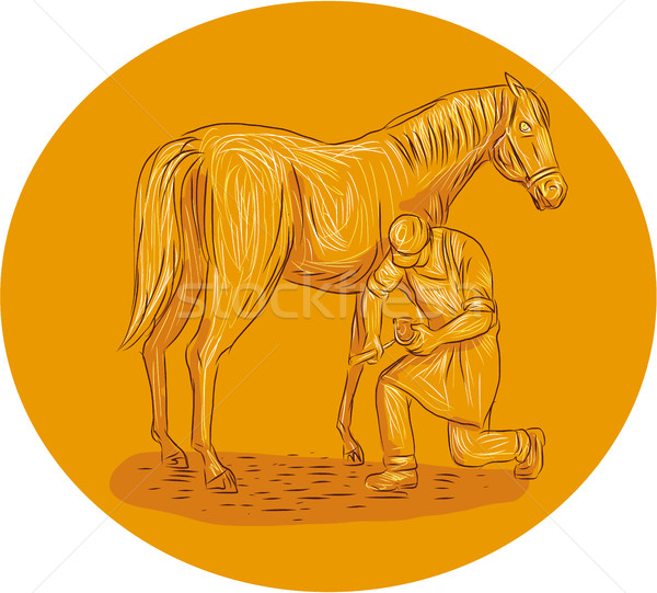 Farrier Placing Shoe on Horse Hoof Circle Drawing Stock photo © patrimonio