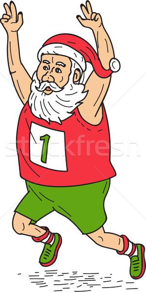 Santa Claus Father Christmas Running Marathon Cartoon Stock photo © patrimonio