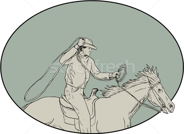 Cowboy Riding Horse Lasso Oval Drawing Stock photo © patrimonio
