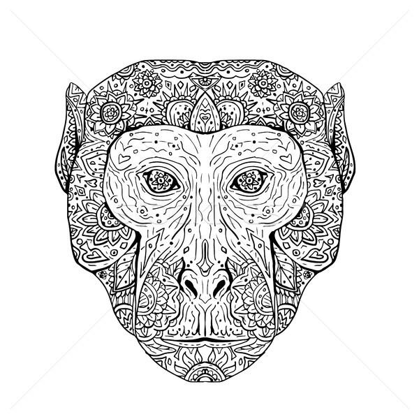 Głowie front mandala ilustracja strony szkic Zdjęcia stock © patrimonio