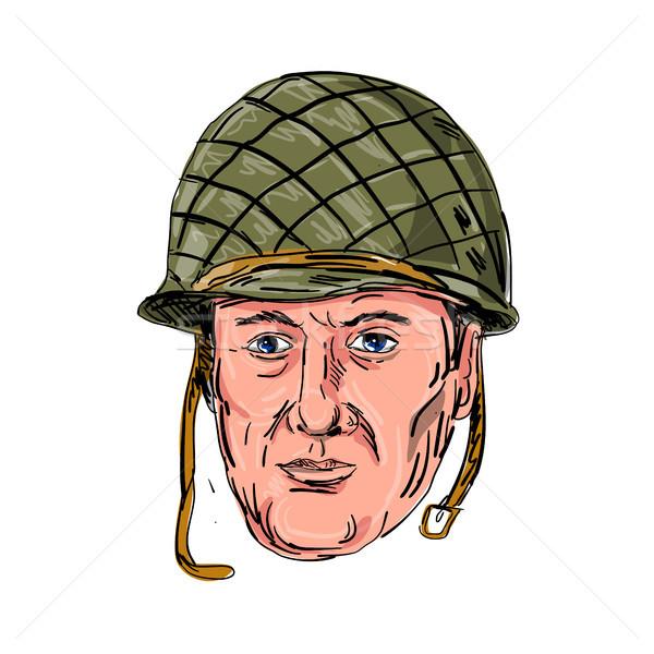 World War Two American Soldier Head Drawing Stock photo © patrimonio