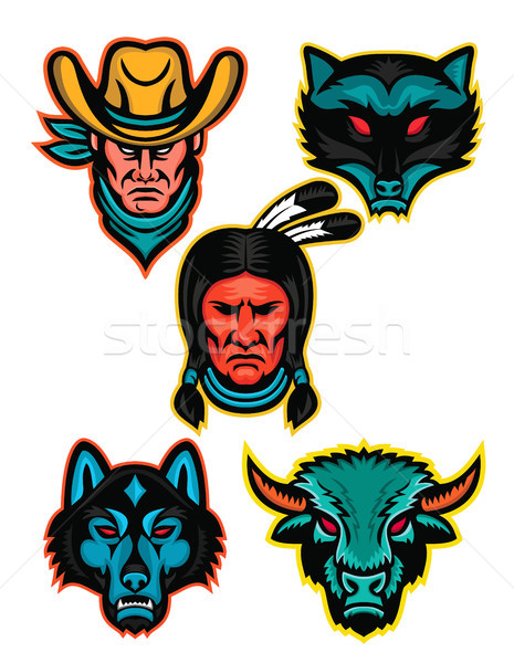 American Sports Mascot Series Collection Stock photo © patrimonio