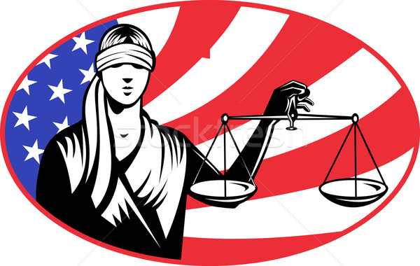 lady blindfold scales of justice american flag Stock photo © patrimonio