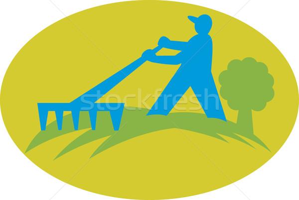 Jardineiro jeans ancinho ilustração trabalhador trabalhando Foto stock © patrimonio