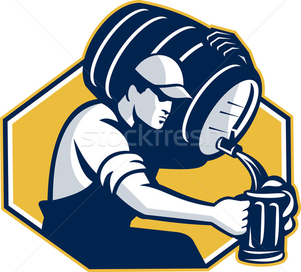 Bartender Pouring Keg Barrel Beer Retro Stock photo © patrimonio