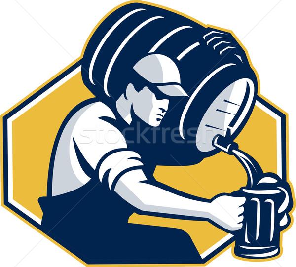бармен баррель пива ретро ретро-стиле Сток-фото © patrimonio