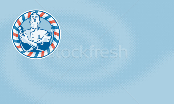 Barber With Clipper Hair Cutter and Scissors Stock photo © patrimonio