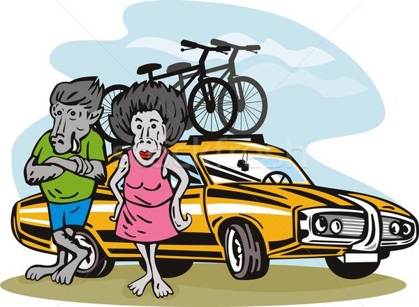 бабуин пару иллюстрация автомобилей велосипедов Сток-фото © patrimonio