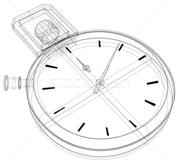 Stock fotó: Stopperóra · drótváz · illusztráció · vonal · rajz · elöl