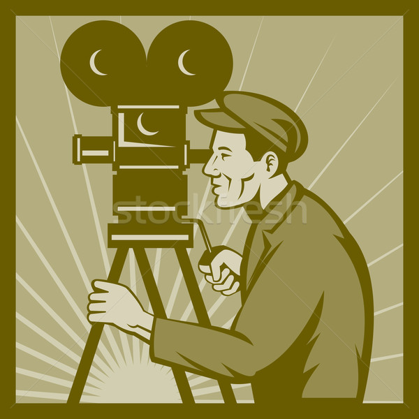 Vintage movie television film camera director Stock photo © patrimonio