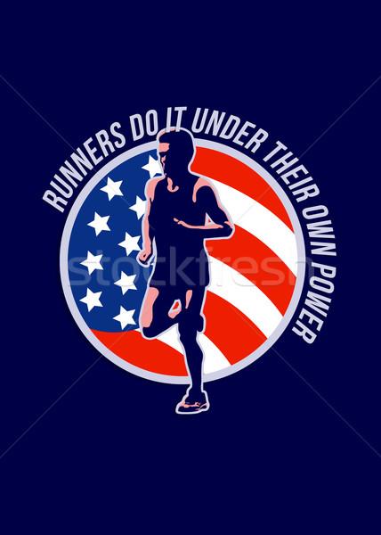 Marathon coureur courir pouvoir rétro Photo stock © patrimonio