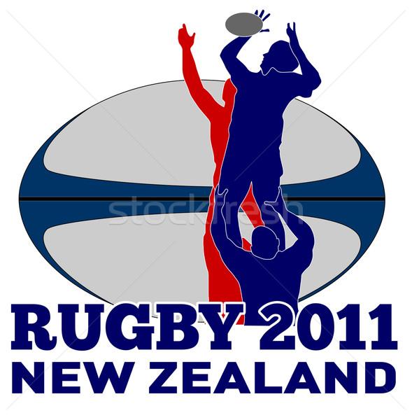 Rugby balle Nouvelle-Zélande 2011 illustration joueur Photo stock © patrimonio