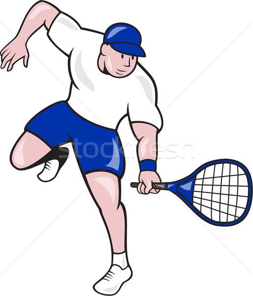 Tennis Player Racquet Cartoon Stock photo © patrimonio