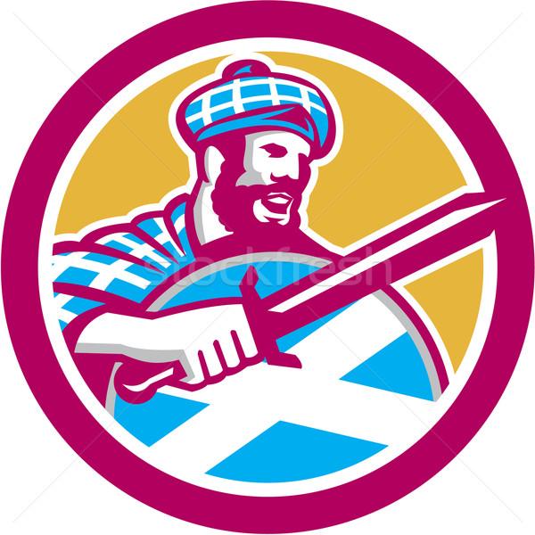 Highlander Scotsman Sword Shield Circle Retro Stock photo © patrimonio