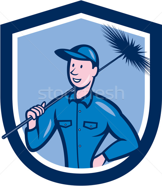 Chimney Sweep Worker Shield Cartoon Stock photo © patrimonio