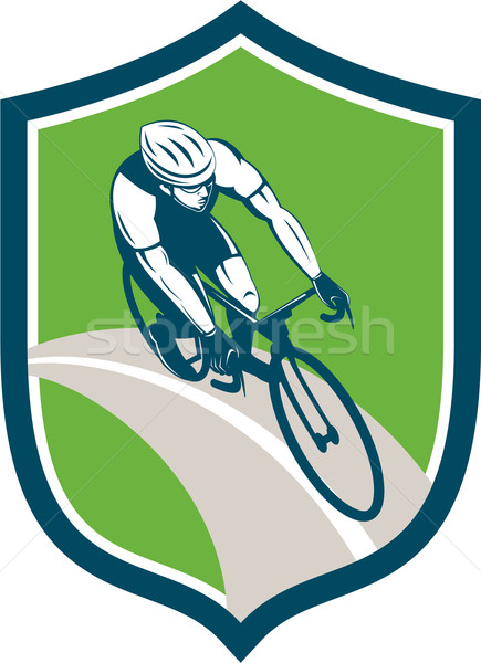 Ciclista bicicletta scudo retro illustrazione bike Foto d'archivio © patrimonio