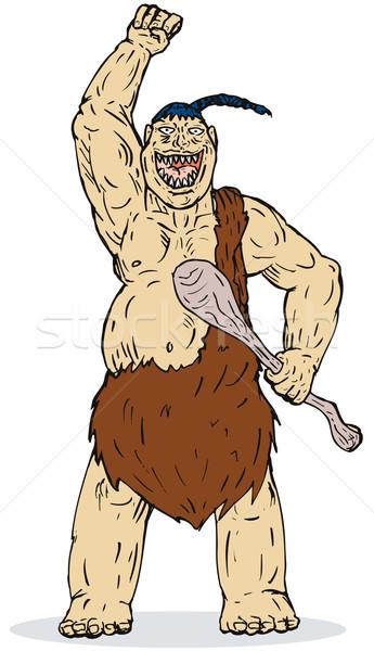 Höhlenmensch stehen Hand Illustration stehen Stock foto © patrimonio