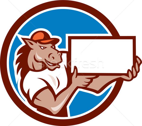 Horse Presenting Blank Sheet Board Circle Cartoon Stock photo © patrimonio