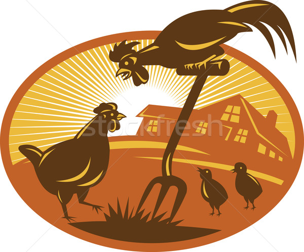 Rooster Hen Chicken Chicks Spade Retro Stock photo © patrimonio