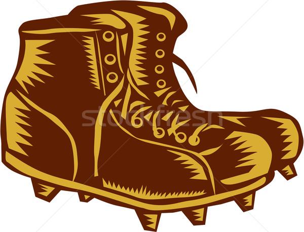 Vintage Football Boots Woodcut Stock photo © patrimonio