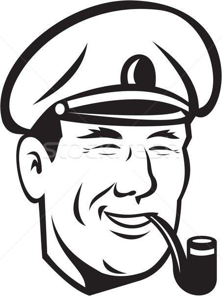 Sea Captain Smiling Smoke Pipe Retro Stock photo © patrimonio