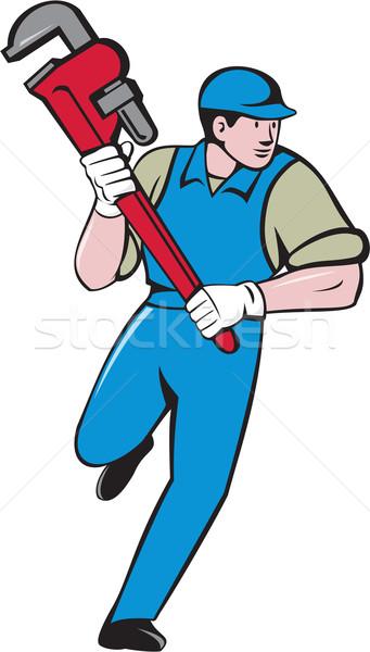 Plumber Running Monkey Wrench Cartoon Stock photo © patrimonio