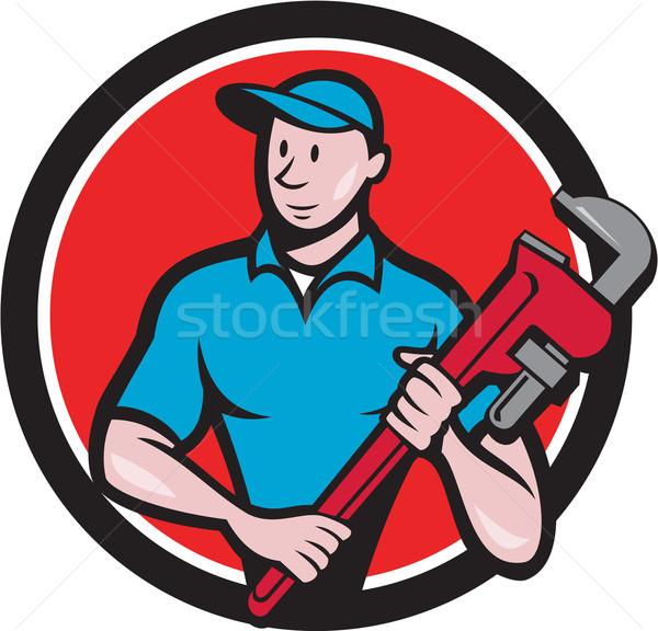 Plumber Holding Monkey Wrench Circle Cartoon Stock photo © patrimonio