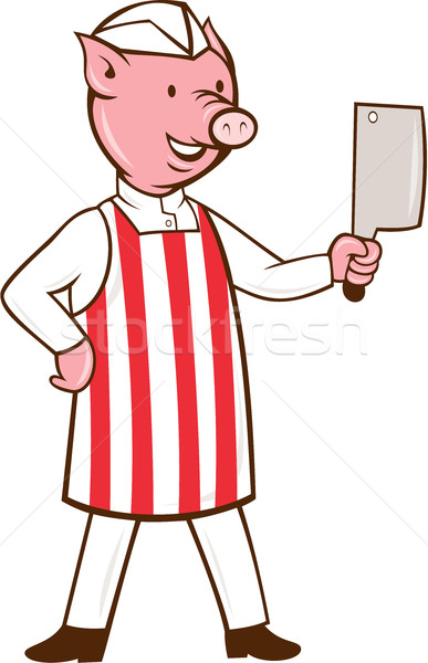 Butcher Pig Holding Meat Cleaver Cartoon Stock photo © patrimonio