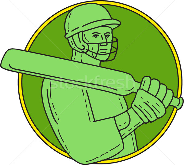 Cricket Player Batsman Circle Mono Line Stock photo © patrimonio
