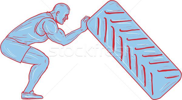 Fitness Athlete Pushing Back Tire Workout Drawing Stock photo © patrimonio