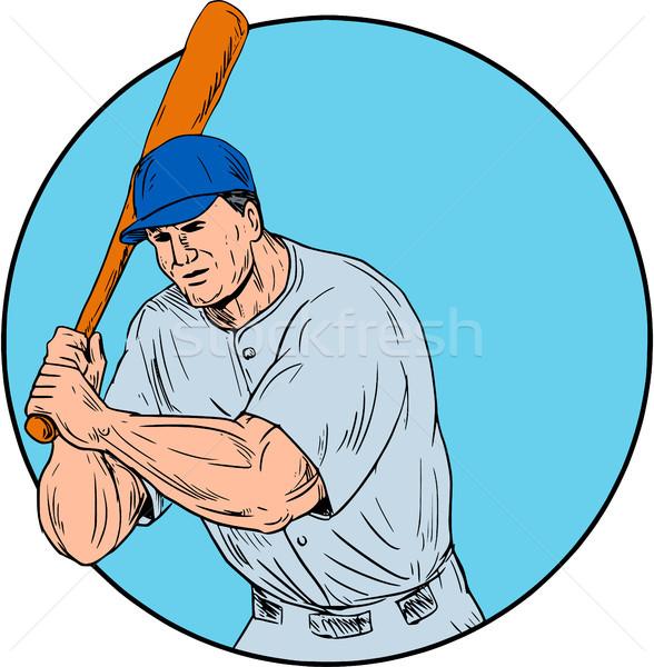 Baseball Player Holding Bat Drawing Stock photo © patrimonio