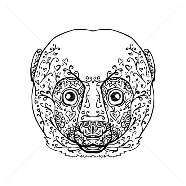 Lemur Head Mandala Stock photo © patrimonio