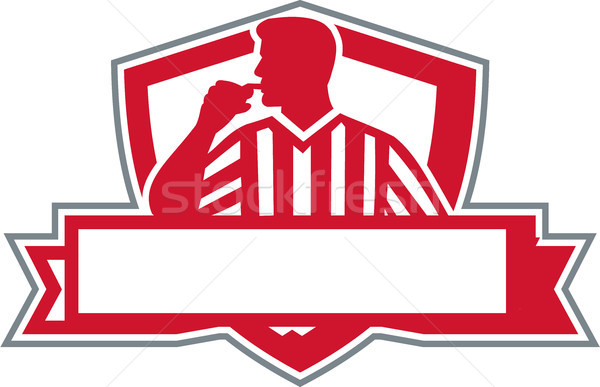 Referee Umpire Official Whistle Side Crest Retro Stock photo © patrimonio