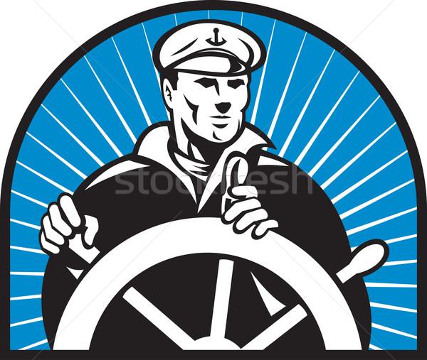 ship captain helmsman steering wheel Stock photo © patrimonio