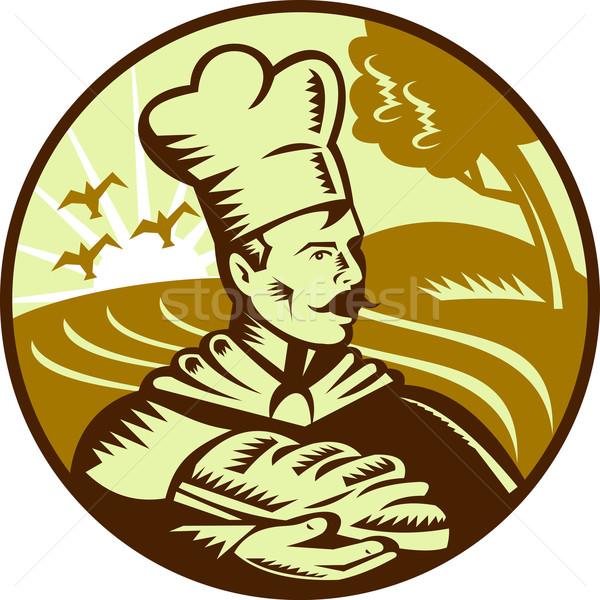 Padeiro chef pão pão fazenda de volta Foto stock © patrimonio
