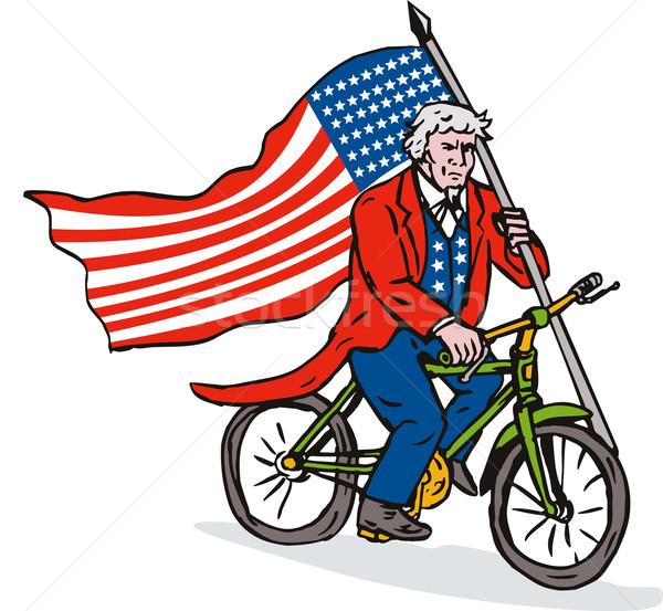 Nagybácsi lovaglás bicikli illusztráció csillagok csíkok Stock fotó © patrimonio