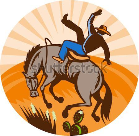 ロデオ カウボーイ ライディング 馬 実例 ジャンプ ストックフォト © patrimonio