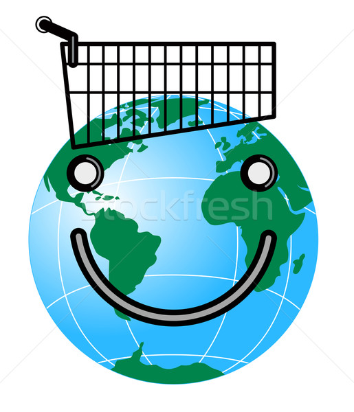 Smiley Face on Globe and Trolley Stock photo © patrimonio