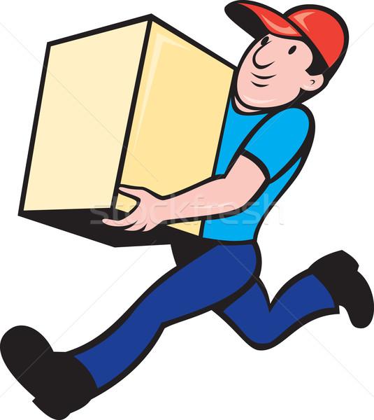Levering persoon werknemer lopen vak illustratie Stockfoto © patrimonio