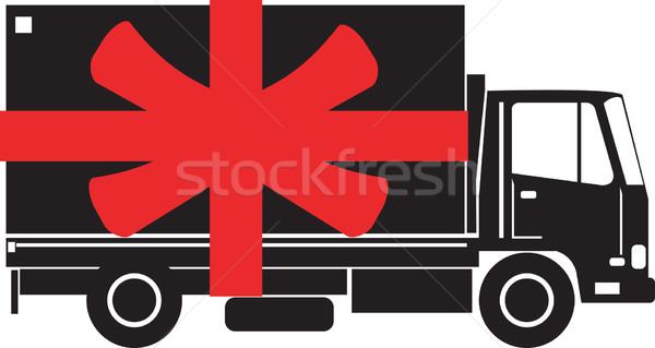 Foto d'archivio: Camion · di · consegna · lato · regalo · nastro · illustrazione · camion