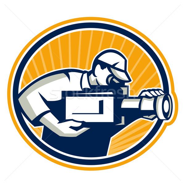 Cameraman Shooting Movie Video Camera Retro Stock photo © patrimonio