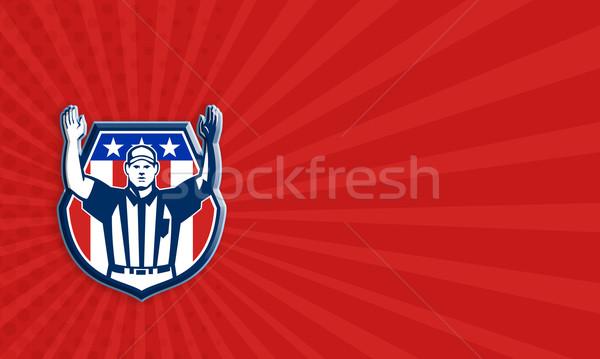 Amerikaanse voetbal officieel arbiter illustratie hand Stockfoto © patrimonio
