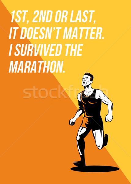 Maraton futó retro poszter üdvözlőlap illusztráció Stock fotó © patrimonio