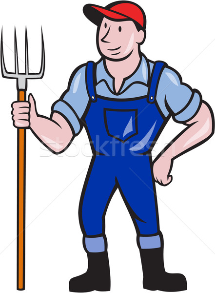 Farmer Holding Pitchfork Standing Cartoon Stock photo © patrimonio