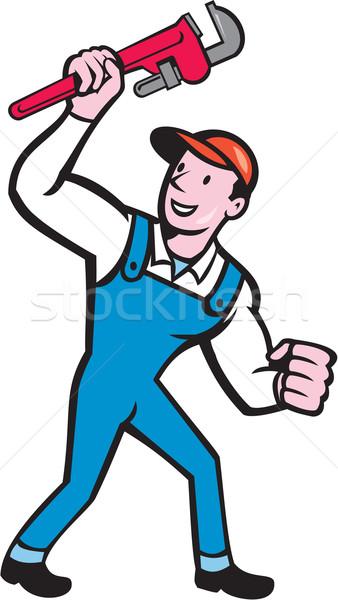 Plumber Holding Monkey Wrench Cartoon Stock photo © patrimonio