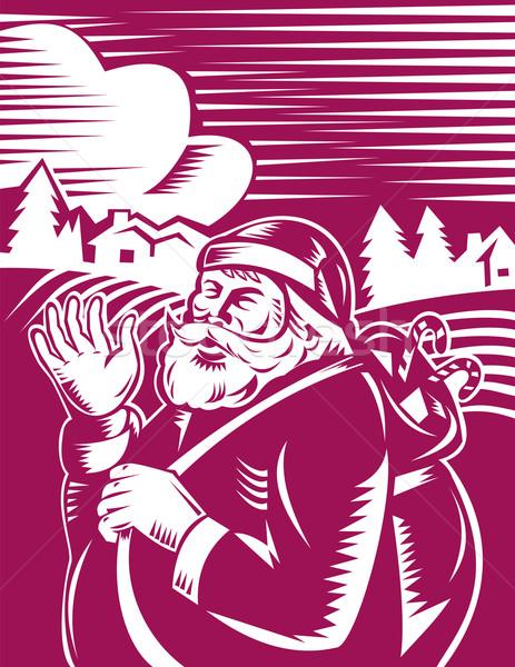 Santa Claus woodcut sideview Stock photo © patrimonio