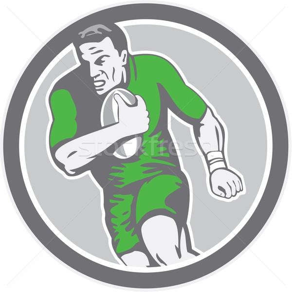 Rugby Player Running Ball Circle Retro Stock photo © patrimonio