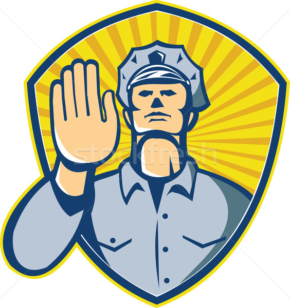 Policeman Police Officer Hand Stop Shield Stock photo © patrimonio