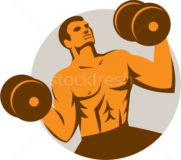 Strongman Crossfit Lifting Dumbbells Circle Retro Stock photo © patrimonio