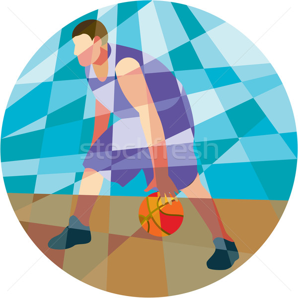 Basketball Player Dribbling Ball Circle Low Polygon Stock photo © patrimonio